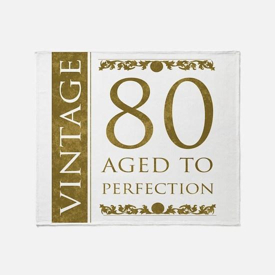 Fancy Vintage 80th Birthday Throw Blanket