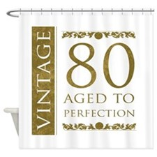 Fancy Vintage 80th Birthday Shower Curtain