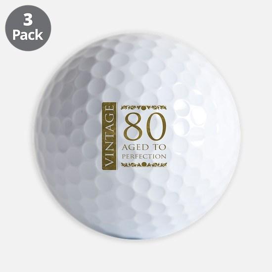 Fancy Vintage 80th Birthday Golf Ball