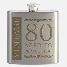 Fancy Vintage 80th Birthday Flask