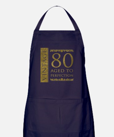 Fancy Vintage 80th Birthday Apron (dark)