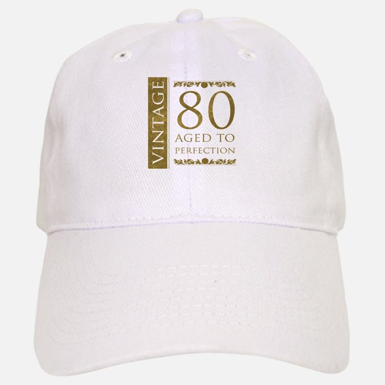 Fancy Vintage 80th Birthday Baseball Baseball Cap