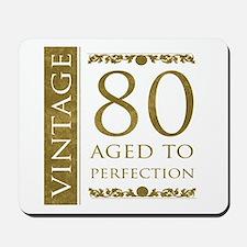 Fancy Vintage 80th Birthday Mousepad