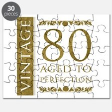 Fancy Vintage 80th Birthday Puzzle
