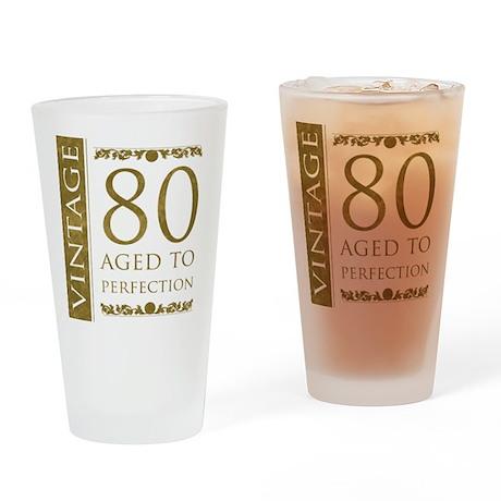 Fancy Vintage 80th Birthday Drinking Glass