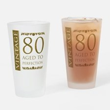 Fancy Vintage 80th Birthday Drinking Glass