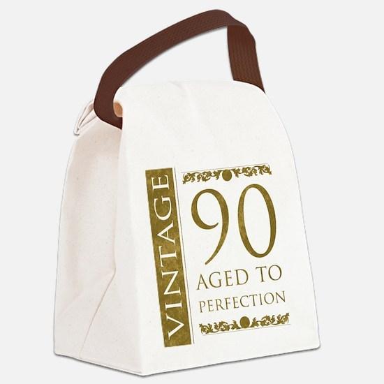 Fancy Vintage 90th Birthday Canvas Lunch Bag