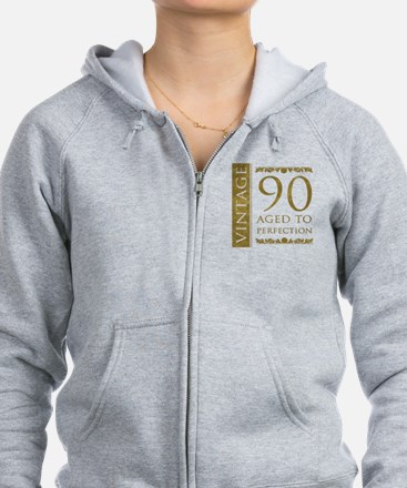 Fancy Vintage 90th Birthday Zip Hoodie
