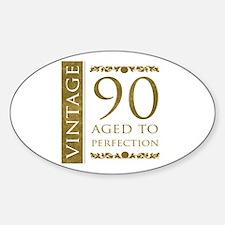 Fancy Vintage 90th Birthday Sticker (Oval)