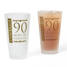 Fancy Vintage 90th Birthday Drinking Glass