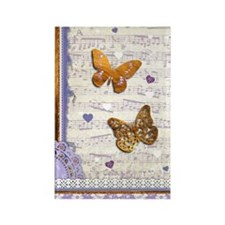 Gold butterflies purple collage Rectangle Magnet