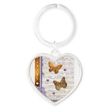 Gold butterflies purple collage Keychains