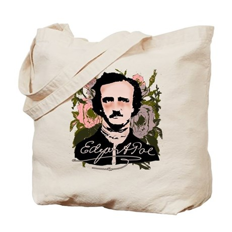 Edgar Allan Poe with Faded Roses Tote Bag