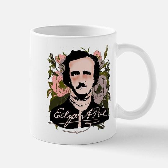 Edgar Allan Poe with Faded Roses Mug