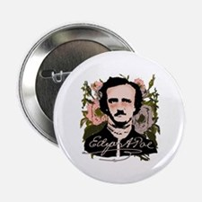"""Edgar Allan Poe with Faded Roses 2.25"""" Button (10"""