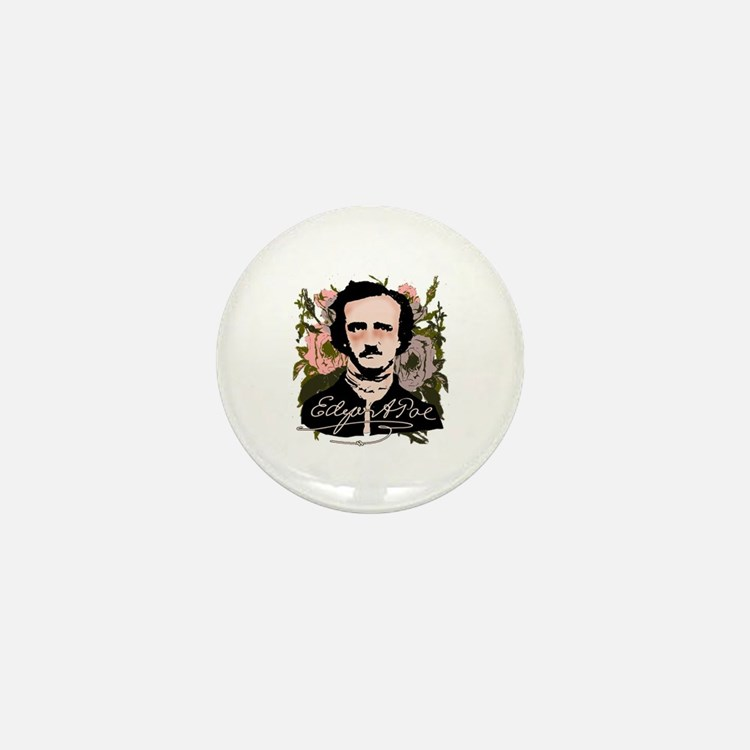 Edgar Allan Poe with Faded Roses Mini Button