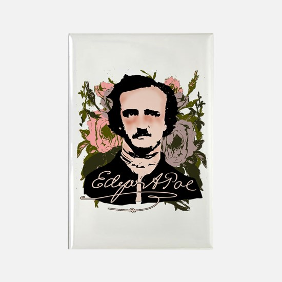Edgar Allan Poe with Faded Roses Rectangle Magnet