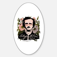 Edgar Allan Poe with Faded Roses Sticker (Oval)