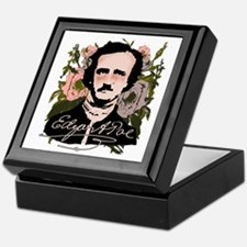 Edgar Allan Poe with Faded Roses Keepsake Box
