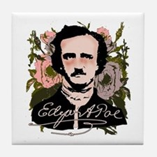 Edgar Allan Poe with Faded Roses Tile Coaster