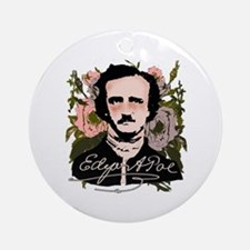 Edgar Allan Poe with Faded Roses Ornament (Round)