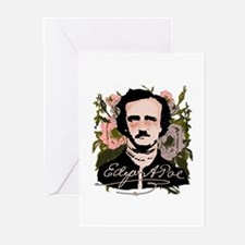 Edgar Allan Poe with Faded Roses Greeting Cards (P