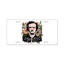 Edgar Allan Poe with Faded Roses Aluminum License