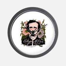 Edgar Allan Poe with Faded Roses Wall Clock