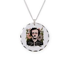 Edgar Allan Poe with Faded Roses Necklace Circle C