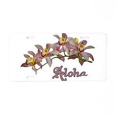 Aloha Flowers Aluminum License Plate