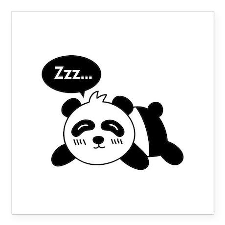 Cartoon of Cute Sleeping Panda Square Car Magnet 3 by
