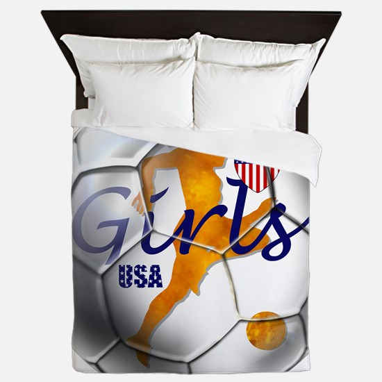 USA Girls Soccer Queen Duvet