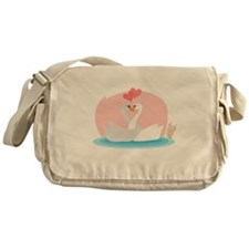 Kissing pair of swans at pond Messenger Bag