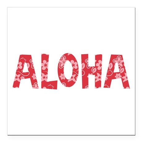 Aloha in Red and Pink Floral Pattern Square Car Ma
