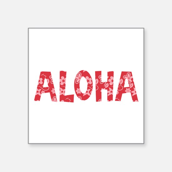 Aloha in Red and Pink Floral Pattern Sticker