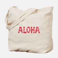 Aloha in Red and Pink Floral Pattern Tote Bag