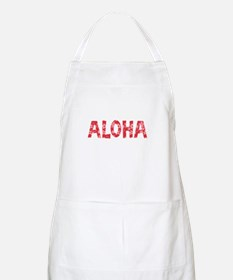 Aloha in Red and Pink Floral Pattern Apron