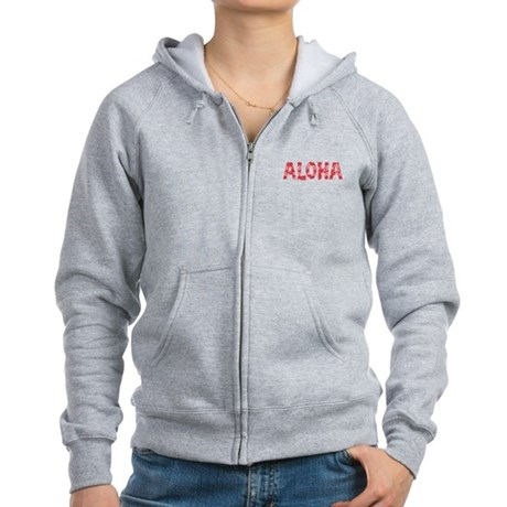Aloha in Red and Pink Floral Pattern Zip Hoodie