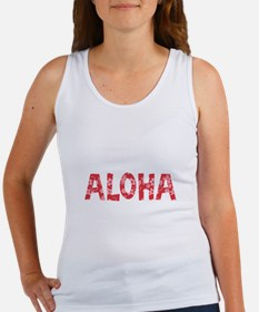 Aloha in Red and Pink Floral Pattern Tank Top