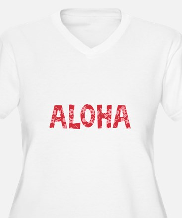 Aloha in Red and Pink Floral Pattern Plus Size T-S
