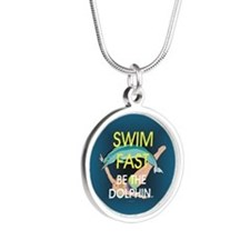 TOP Swim Slogan Silver Round Necklace