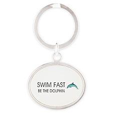 TOP Swim Slogan Oval Keychain