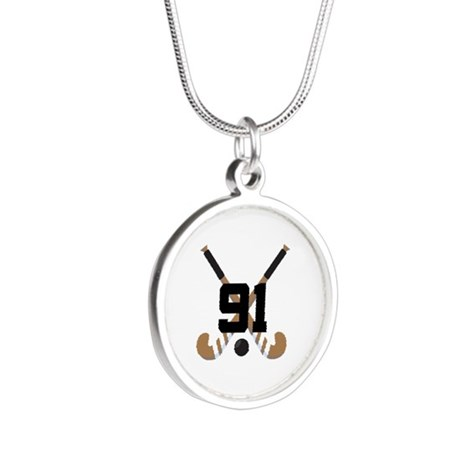 Field Hockey Number 91 Silver Round Necklace