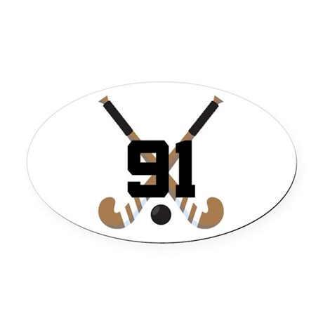 Field Hockey Number 91 Oval Car Magnet