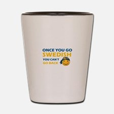 Funny Swedish flag designs Shot Glass
