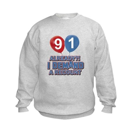 91 year old ballon designs Kids Sweatshirt