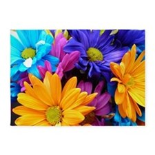 Colorful Neon Flowers 5'x7'Area Rug