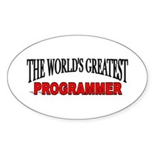"""""""The World's Greatest Programmer"""" Oval Decal"""