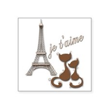 Chocolate Brown I Love Paris Eiffel Tower Cats Sti
