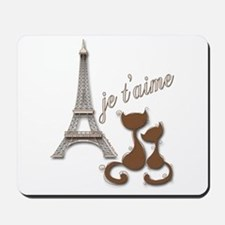Chocolate Brown I Love Paris Eiffel Tower Cats Mou